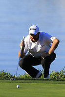 Shane Lowry (IRL) lines up his putt on the 5th green at Pebble Beach course during Friday's Round 2 of the 2018 AT&amp;T Pebble Beach Pro-Am, held over 3 courses Pebble Beach, Spyglass Hill and Monterey, California, USA. 9th February 2018.<br /> Picture: Eoin Clarke | Golffile<br /> <br /> <br /> All photos usage must carry mandatory copyright credit (&copy; Golffile | Eoin Clarke)