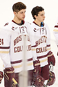 Zach Sanford (BC - 24), Matthew Gaudreau (BC - 21) - The Boston College Eagles defeated the visiting University of New Brunswick Varsity Reds 6-4 in an exhibition game on Saturday, October 4, 2014, at Kelley Rink in Conte Forum in Chestnut Hill, Massachusetts.