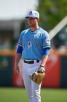 Buffalo Bisons pitcher Jonathan Cheshire (57) during an International League game against the Lehigh Valley IronPigs on June 9, 2019 at Sahlen Field in Buffalo, New York.  Lehigh Valley defeated Buffalo 7-6 in 11 innings.  (Mike Janes/Four Seam Images)