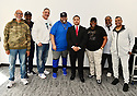 MIAMI, FLORIDA - JANUARY 29: Commissioned and CEO of Figgers Wireless Freddie Figgers (6th from L) attend the 21st Annual Super Bowl Gospel Celebration Press Conference at James L Knight Center on January 29, 2020 in Miami, Florida.  ( Photo by Johnny Louis / jlnphotography.com )