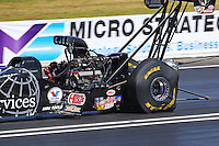 Jun 7, 2015; Englishtown, NJ, USA; Detailed view of tire distortion to the Goodyear tires on the dragster of NHRA top fuel driver Dave Connolly during the Summernationals at Old Bridge Township Raceway Park. Mandatory Credit: Mark J. Rebilas-