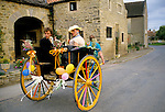 """MAYOR"" & ""MAYORESS"" (MAN DRESSES AS WOMAN) ON DECORATED CART, DURING PROCESSION AT KILBURN FEAST - BRITISH COUNTRY CUSTOMS, YORKSHIRE"