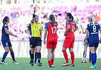 Orlando, FL - Saturday October 14, 2017: Danielle Chesky, Tobin Heath during the NWSL Championship match between the North Carolina Courage and the Portland Thorns FC at Orlando City Stadium.