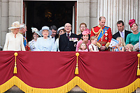 Queen, Prince Phillip, Camilla Duchess of Cornwall, Prince Charles, Queen, Prince Phillip, Catherine Duchess of Cambridge, Princess Charlotte, Prince George, Prince William, Savannah and Isla Phillips, Peter Phillips<br /> on the balcony of Buckingham Palace during Trooping the Colour on The Mall, London. <br /> <br /> <br /> &copy;Ash Knotek  D3283  17/06/2017