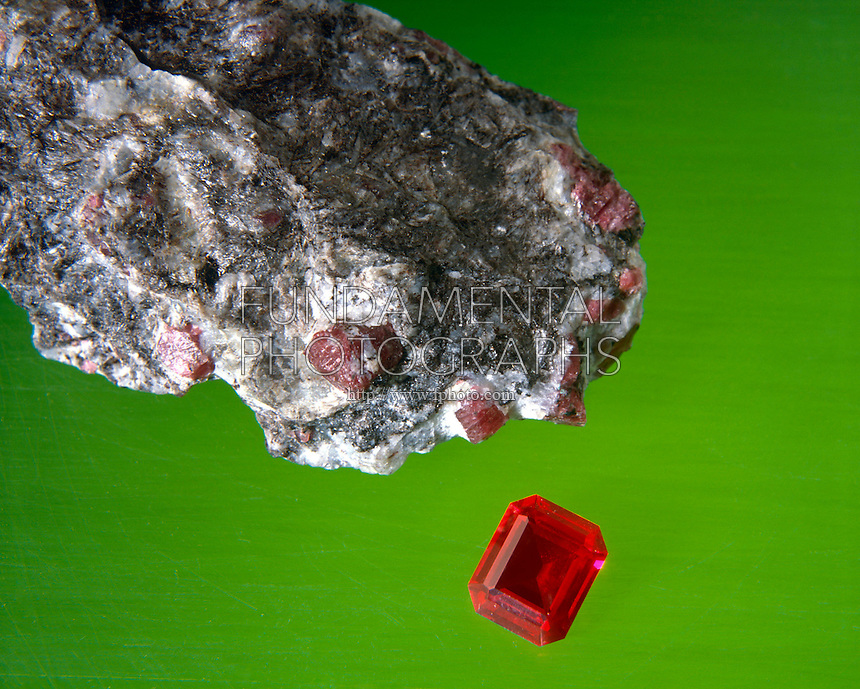 UNCUT RUBY (Corundum)<br /> With Boule ruby (Synthetic)<br /> Al2O3<br /> Matrix of Bauxite