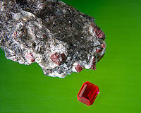 UNCUT RUBY (Corundum)<br /> With Boule ruby (Synthetic)<br /> Al2O3<br /> Matrix of Bauxite