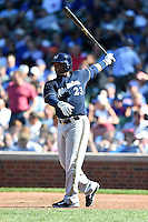 Milwaukee Brewers pinch hitter Rickie Weeks (23) at bat during a game against the Chicago Cubs on August 14, 2014 at Wrigley Field in Chicago, Illinois.  Milwaukee defeated Chicago 6-2.  (Mike Janes/Four Seam Images)