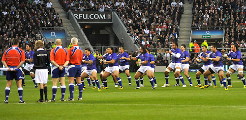 20.11.10. Samoa perform there chalenge to England. Investec international test match between England vs Samoa at Twickenham Stadium on November 19, 2010 in London, England.