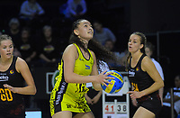 Saviour Tui in action during the Beko Netball League match between Central Manawa and Waikato Bay Of Plenty at TSB Bank Arena in Wellington, New Zealand on Sunday, 21 April 2019. Photo: Dave Lintott / lintottphoto.co.nz