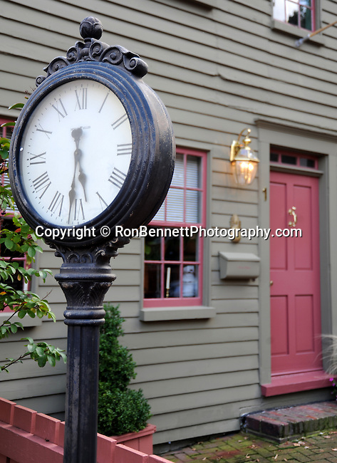 """House with clock Annapolis Maryland, USNA, Annapolis Maryland, Annapolis is the capital of Maryland, door, window, United States Naval Academy USNA, The Boat School, Canoe U, United States, Maryland, Mid Atlantic region, Seventh state to ratify the United States Constitution, Old Line State, Free State, Johns Hopkins University, Little America, State of Maryland United States of America, Baltimore, Oak forest, Piedmont Region, Pine groves in the mountains to the west, Chesapeake Bay, Severn River, temporary capital of the United States in 1783-1784, Annapolis Peace Conference, Province of Maryland, """"Town at Proctor's,"""" Fine Art Photography by Ron Bennett, Fine Art, Fine Art photography, Art Photography, Copyright RonBennettPhotography.com ©"""
