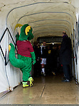 Northampton Town 1 Oxford United 0, 23/03/2013. Sixfields, League Two. Oxford United are the visitors to Sixfields as the long British winter continues in Northamptonshire. Clarence the Dragon waits in the tunnel area for the two teams. Photo by Simon Gill