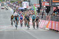 20th May 2018, Giro D italia; stage 15 Tolmezzo to Sappada; Ag2r La Mondiale; 2018, Bora - Hansgrohe; 2018, Sunweb; 2018, Astana; Geniez, Alexandre; Formolo, Davide; Oomen, Sam; Bilbao, Peio; Sappada;