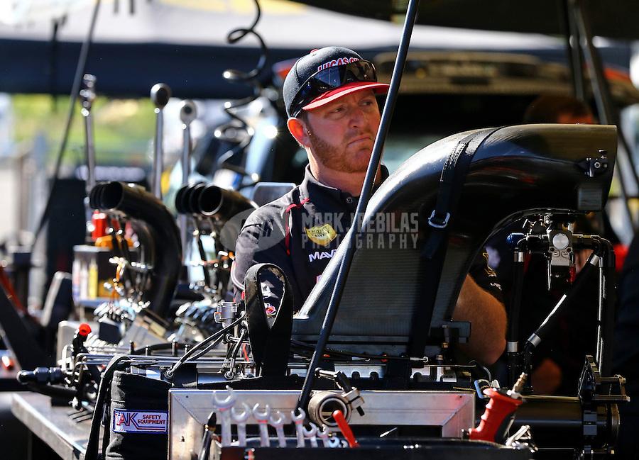 Jun. 1, 2014; Englishtown, NJ, USA; Crew member for NHRA top fuel driver Morgan Lucas during the Summernationals at Raceway Park. Mandatory Credit: Mark J. Rebilas-