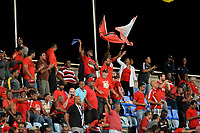 Couva, Trinidad & Tobago - Tuesday Oct. 10, 2017: Soca Warriors fans during a 2018 FIFA World Cup Qualifier between the men's national teams of the United States (USA) and Trinidad & Tobago (TRI) at Ato Boldon Stadium.