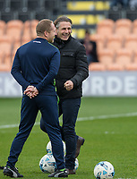 Wycombe Wanderers Manager Gareth Ainsworth laughs with Wycombe Wanderers Assistant Manager Richard Dobson ahead of the Sky Bet League 2 match between Barnet and Wycombe Wanderers at The Hive, London, England on 17 April 2017. Photo by Andy Rowland.