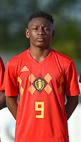 20180417 - TUBIZE , BELGIUM : Belgian Kazeem Olaigbe pictured during the friendly  soccer match between  under 15 teams of  Belgium and Switzerland , in Tubize , Belgium . Tuesday 17 th April 2018 . PHOTO SPORTPIX.BE / DIRK VUYLSTEKE
