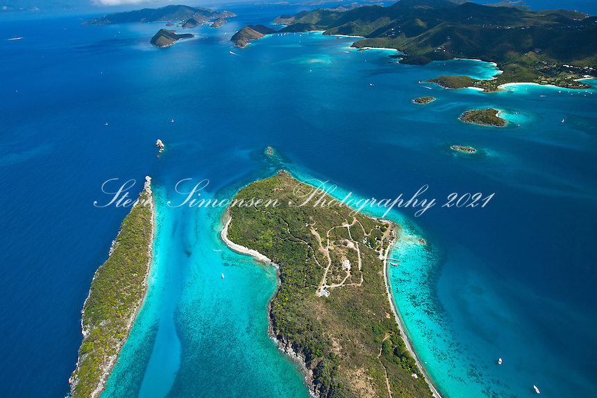 Aerial view of St. John.with Congo Cay and Lovango Cay in the foreground.U.S. Virgin Islands