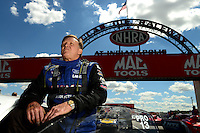 Sept 8, 2012; Clermont, IN, USA: NHRA pro stock driver Larry Morgan during qualifying for the US Nationals at Lucas Oil Raceway. Mandatory Credit: Mark J. Rebilas-