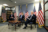 Washington, DC - January 14, 2009 -- United States Vice President-elect Senator Joseph Biden (Democrat of Delaware), right, speaks as United States President-elect Barack Obama, center and United States Senator Lindsey Graham (Republican of South Carolina), left, listen during a meeting regarding a recent trip to Southwest Asia at the transition office Wednesday, January 14, 2009 in Washington, DC. Biden and Graham, who have recently returned from a trip to Afghanistan, Iraq, Kuwait and Pakistan, briefed Obama on their diplomatic findings. .Credit: Alex Wong - Pool via CNP