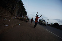 children play soccer on a street in the Tekle Haymanut neighborhood  in Addis Ababa, Ethiopia on Wednesday May 23 07..