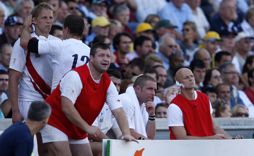 Photo: Richard Lane/Richard Lane Photography..Australia v England. Quarter Final, IRB Rugby World Cup, RWC 2007. 06/10/2007. .England's Phil Vickery and his team mates watch on from the bench.