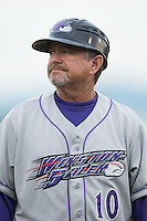 Winston-Salem Dash manager Tim Esmay (10) coaches third base during the game against the Salem Red Sox at LewisGale Field at Salem Memorial Ballpark on May 14, 2015 in Salem, Virginia.  The Red Sox defeated the Dash 1-0.  (Brian Westerholt/Four Seam Images)