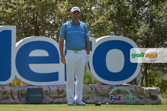 Padraig Harrington (IRL) looks over his tee shot on 18 during day 1 of the Valero Texas Open, at the TPC San Antonio Oaks Course, San Antonio, Texas, USA. 4/4/2019.<br /> Picture: Golffile | Ken Murray<br /> <br /> <br /> All photo usage must carry mandatory copyright credit (© Golffile | Ken Murray)