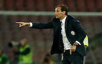 Juventus' coach  Massimiliano Allegri   gives instructions to his players during the  italian serie a soccer match against    SSc,    at  the San  Paolo   stadium in Naples  Italy , September 26 , 2015