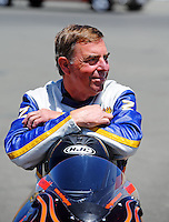 Jul. 17, 2010; Sonoma, CA, USA; NHRA pro stock motorcycle rider Larry Cook during qualifying for the Fram Autolite Nationals at Infineon Raceway. Mandatory Credit: Mark J. Rebilas-