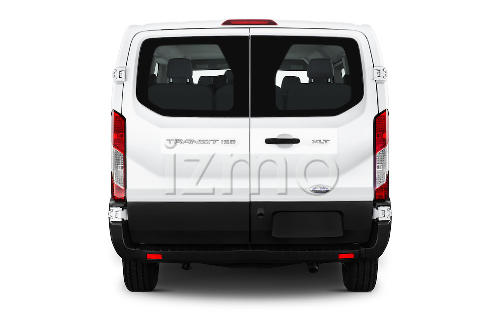 Straight rear view of 2016 Ford Transit 150-XLT-Low-Roof 4 Door Passenger Van Rear View  stock images
