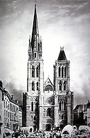 Paris: Abbey Church of Saint-Denis, c. 1850 before destruction of North Tower. Reference only.