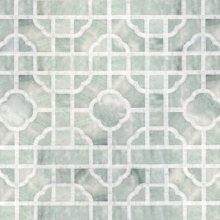 Royal Palace, a waterjet and hand-cut stone mosaic, shown in polished Ming Green and Thassos, is part of the Altimetry® Collection for New Ravenna.