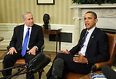 United States President Barack Obama, right, meets with Prime Minister Benjamin Netanyahu of Israel, left, in the Oval Office of the White House in Washington, D.C., Monday, March 5, 2012..Credit: Martin H. Simon / Pool via CNP