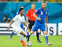 Raheem Sterling of England and Daniele De Rossi of Italy