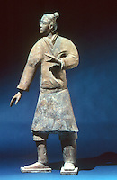 "China:  Striding Infantryman--terracotta.   Qin Dynasty 221-208 B.C.  5' 10"" high.  Shaanxi Provinical Museum.  The Great Bronze Age of China exhibition for People's Republic of China."