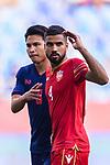 Sayed Dhiya Saeed of Bahrain (R) reacts during the AFC Asian Cup UAE 2019 Group A match between Bahrain (BHR) and Thailand (THA) at Al Maktoum Stadium on 10 January 2019 in Dubai, United Arab Emirates. Photo by Marcio Rodrigo Machado / Power Sport Images
