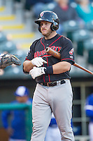 Nashville Sounds designated hitter Max Muncy (9) adjusts his batting glove while at the plate against the Oklahoma City Dodgers at Chickasaw Bricktown Ballpark on April 15, 2015 in Oklahoma City, Oklahoma. Oklahoma City won 6-5. (William Purnell/Four Seam Images)