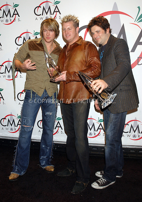 WWW.ACEPIXS.COM . . . . . ....NEW YORK, NOVEMBER 15, 2005....Joe Don Rooney, Gary LeVox and Jay DeMarcus of Rascal Flatts at The 39th Annual CMA Awards Press Room at Madison Square Gardens.......Please byline: KRISTIN CALLAHAN - ACE PICTURES.. . . . . . ..Ace Pictures, Inc:  ..Philip Vaughan (212) 243-8787 or (646) 679 0430..e-mail: info@acepixs.com..web: http://www.acepixs.com