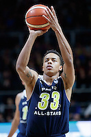 July 12, 2016: LORENZO BONAM (33) of the Utah Utes takes a free throw during game 1 of the Australian Boomers Farewell Series between the Australian Boomers and the American PAC-12 All-Stars at Hisense Arena in Melbourne, Australia. Sydney Low/AsteriskImages.com