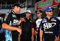 Sept. 25, 2011; Ennis, TX, USA: NHRA funny car drivers (left to right), Matt Hagan , Mike Neff , Bob Tasca III and Robert Hight during the Fall Nationals at the Texas Motorplex. Mandatory Credit: Mark J. Rebilas-