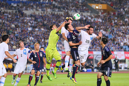 Maya Yoshida (JPN), AUGUST 14, 2013 - Football / Soccer : <br /> KIRIN Challenge Cup 2013 match <br /> between Japan 2-4 Uruguay <br /> at Miyagi Stadium, Miyagi, Japan.<br />  (Photo by AFLO SPORT)