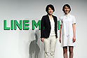 "March 14, 2017, Tokyo, Japan - LINE MOBILE president Ayano Kado (L) smiles with Japanese actress Non as she announces the new service at a press conference in Tokyo on Monday, March 14, 2017. LINE MOBILE will use actress ""Non"" as the new mascot for the company's new TV commercial.    (Photo by Yoshio Tsunoda/AFLO) LwX -ytd-"