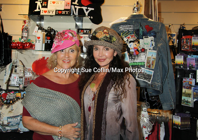"General Hospital's Jackie Zeman poses with her sister Lauren who tries on Jane Elissa's many Hats for Health on September 10, 2010 at the New York Marriott Marquis, New York, New York as Daytime's TV and  Broadway stars get involved in helping launch Jane Elissa's ""Hats For Health"" to promote awareness and to raise money for Leukemia and cancer research.   (Photo by Sue Coflin/Max Photos)"