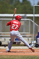 St. Louis Cardinals Justin Ringo (27) during a minor league spring training game against the New York Mets on April 1, 2015 at the Roger Dean Complex in Jupiter, Florida.  (Mike Janes/Four Seam Images)