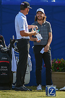 Jimmy Walker (USA) shares a laugh with Tommy Fleetwood (ENG) on the first tee during Round 3 of the Zurich Classic of New Orl, TPC Louisiana, Avondale, Louisiana, USA. 4/28/2018.<br /> Picture: Golffile | Ken Murray<br /> <br /> <br /> All photo usage must carry mandatory copyright credit (&copy; Golffile | Ken Murray)