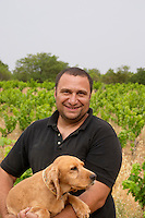 Pierre Quinonero Domaine de la Garance. Pezenas region. Languedoc. Owner winemaker. France. Europe. The Dog.