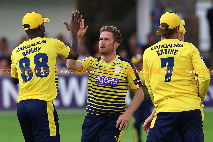 Liam Dawson (C) of Hampshire celebrates taking the wicket of  Ravi Bopara during Essex Eagles vs Hampshire, Nat West T20 Blast Cricket at the Essex County Ground on 24th June 2016