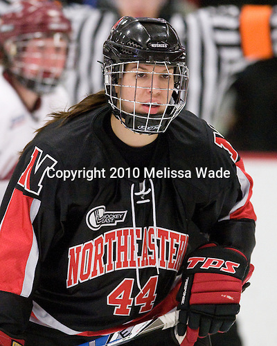 Stephanie Gavronsky (NU - 44) - The Harvard University Crimson defeated the Northeastern University Huskies 1-0 to win the 2010 Beanpot on Tuesday, February 9, 2010, at the Bright Hockey Center in Cambridge, Massachusetts.