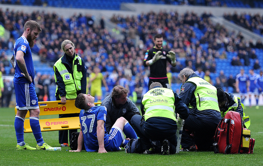 Cardiff City's Rhys Healey is taken of on a stretcher following a injury <br /> <br /> Photographer Ashley Crowden/CameraSport<br /> <br /> The EFL Sky Bet Championship - Cardiff City v Rotherham United - Saturday 18th February 2017 - Cardiff City Stadium - Cardiff<br /> <br /> World Copyright &copy; 2017 CameraSport. All rights reserved. 43 Linden Ave. Countesthorpe. Leicester. England. LE8 5PG - Tel: +44 (0) 116 277 4147 - admin@camerasport.com - www.camerasport.com