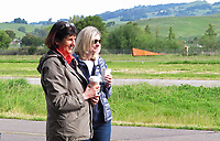 Pat Pittelkow and Nancy Sasser share coffee during a spring breakfast at the Petaluma Area Pilot Association's hangar.